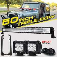 "50"" 2808W CREE LED Light Bar +2X4"" Pods Mount Bracket For Jeep Wrangler TJ 97-06"