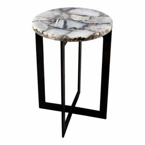 "21"" T Set of 2 Side Table One of a Kind White Agate Stone Modern Steeel Base"