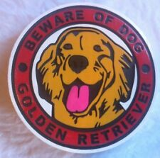 Beware of Dog Golden Retriever Sign 3D routed wood carved pet sign Custom