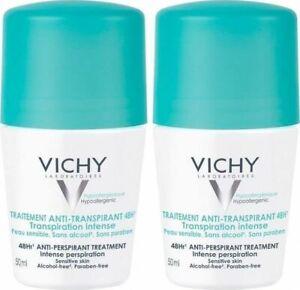 2x VICHY DEODORANT Roll on ANTI-PERSPIRANT 48h Protection 50ml , Sensitive Skin