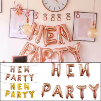 16'' Rose Gold HEN PARTY Foil Balloons Hen Do Party Bridal Shower Banner Letters