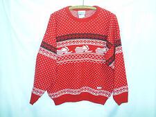 Vintage Ski-doo Bombardier Snowmobile Sweater Size Large Nordic Red White Black
