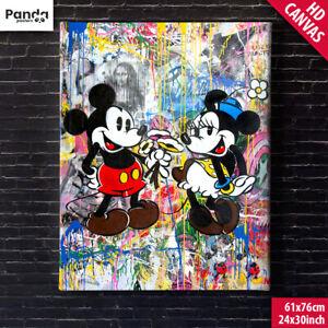 Mr Brainwash Mickey & Minnie Poster Canvas (60x75cm/24x30in) Graffiti Art Print