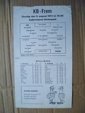 1972 programma di calcio-KB V frem, 9 AGOSTO 1972 (singolo foglio)