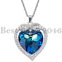 Sterling Silber Unendlichkeit Liebe Herz Halskette Made With Swarovski Elements