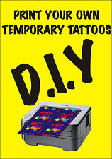 DIY Temporary Tattoo Paper 4 Sheets design your own hens nights, kids days out