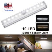 Motion Sensor Closet Light 10LEDs Wireless Cabinet Night Lamp Battery Powered US