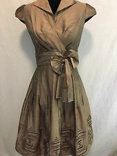Adrianna Papell Womens Beige Gray Shimmer Formal Party Silk Dress Wrap Size 4