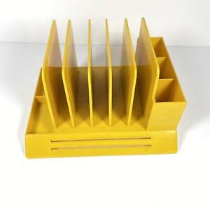 Vintage Max Klein Desk Organizer Pens Mail Slots V-87 MCM 1960s Yellow