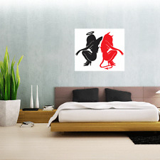 "Angel And Devil Girls Wall Decal Large Vinyl Sticker 25"" x 21"""