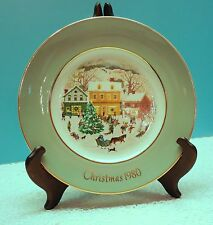 1980 Avon Christmas Plate With Pale Blue Green Border And Village Scene