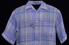 Men's DANIEL CREMIEUX Purple Plaid Short Sleeve S/S Linen Shirt Large L NWT NEW