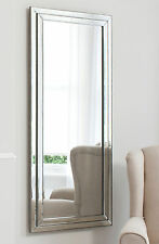 "Full Length Extra Large Silver Pewter Edge Wall Long Mirror 60"" x 26"""