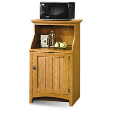 Wooden Kitchen Cart Storage Microwave Stand Cabinet Portable Oak Finish Shelf