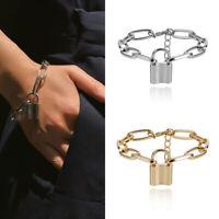 Punk Lock Chain Bracelet Women Charm Cuff Bangle Wristband Women Jewelry LDUK