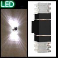 Außenleuchte Fassade anthrazit LED Wandleuchte Strahler Lampe Haus Spot Glas L7