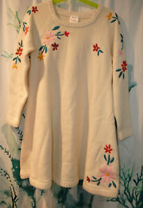 NWT Hanna Andersson Storyteller Sweater Dress Merino Wool Cotton Ecru 120 US 6-7