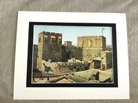 Antique Print Jewish Art Original Jerusalem Tower of David Israel Holy Land