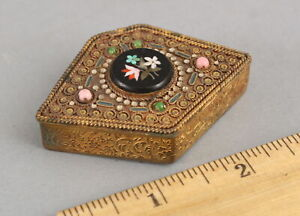 Antique French Brass Inlaid Pietra Dura Stone & Enamel Makeup Compact Box NR