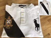 New Polo Ralph Lauren Men's Big Pony Custom Slim Fit Polo Shirt in White & Black