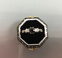 Women's Vintage 18ct Gold Quality Sapphire & Diamond Ring Size L Weight 3g