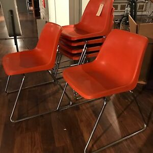MCM Orange Chrome Chairs Set 6 Pc set by Howell