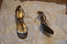 womens midnight velvet brown & clear beaded t-strap heels shoes size 8 1/2 wide