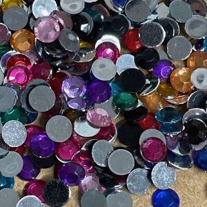 200pcs 8mm Resin round Flatback Rhinestone Gem Crystal Beads Craft #813
