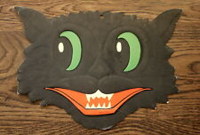 Vintage Cardboard Black Cat Head Halloween Decoration, 12 x 9 Inches