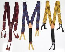 Paul Stuart Lot of 3 Suspenders Braces Silk-Leather Paisley Plaid
