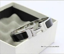 Hot 12MM Black Stylish Stainless Steel Anti allergic H shaped Buckle Bracelet