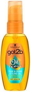 Schwarzkopf Got2b Oil-Licious Tame & Shine Styling Oil 50ml with Argan Oil New