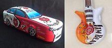 Jim Beam Collectable Metal Race Car Tin + Blow Up Promotional Plastic Guitar