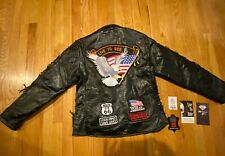 Motorcycle Leather Jacket Live to Ride Eagle Patch Biker Diamond Plate