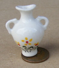 1:12 Scale Yellow Floral 3.6cm High Ceramic Vase Tumdee Dolls House Ornament Y22
