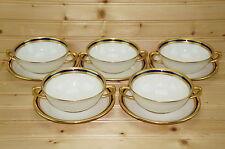 "Lenox S4B S.4.B. (5) Cream Soup Bowls 4¾"" & (5) Cream Soup Saucers 6¼""-Design In"