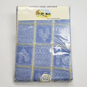 "Vintage Cotton Park Cottage Rooster Tablecloth Blue Woven Farmhouse Oval 60""×84"""