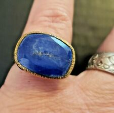 Lapis Lazuli Gold over Sterling Silver ring Unisex size 7