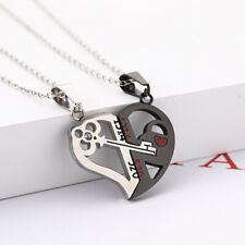 2pcs His and Hers Stainless Steel Love Heart Lock Key Couple Pendant Necklace AU