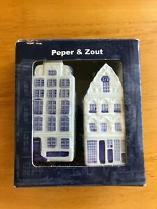 NIB Vintage Hand Painted Delft Blue Canal House Ceramic Salt & Pepper Shakers