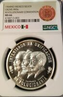 1964 MEXICO SILVER GROVE 900a REVOLUTIONARY CONVENTION NGC MS 66 TOP POP SCARCE