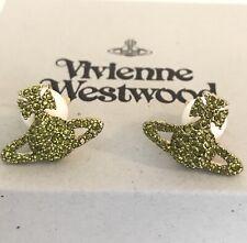Vivienne Westwood GRACE BAS RELIEF EARRINGS GOLD OLIVINE