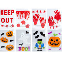 HALLOWEEN WINDOW GEL STICKERS DECORATIONS SCARY SPOOKY PARTY BLOODY RED DECALS