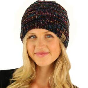 CC Fleeced Fuzzy Lined Unisex Chunky Thick Warm Stretchy Beanie Hat Multi Black