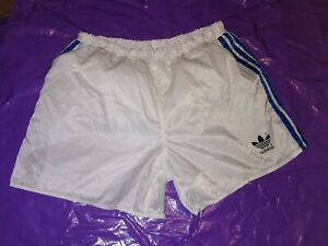 "Men's Adidas Sports Shorts Vtg Glanz nylon football gym fitness D7 L 36"" White 2"