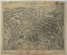 Acquaforte ANTICA CARTA OLD MAP Napoli Naples Neapolis 1640 Matthaus Merian