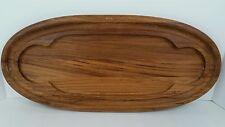 Vtg Mid Century Modern Dansk Dark Wood Oval  Serving Tray Cheese Cutting Board