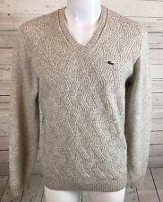 Lacoste Gray V Neck Wavy Knit Wool Blend Jumper Sweater Men's Sz 5 M