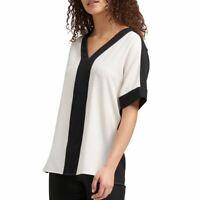 DKNY NEW Women's Color Block Short Sleeve Blouse Shirt Top TEDO