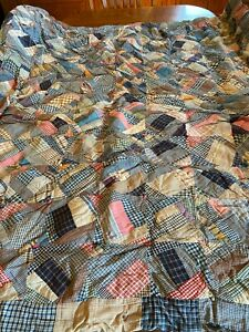 Nice Hand Tied Cotton Crazy Patch Comforter Quilt Hand Stitched 62 x66 Needs TLC